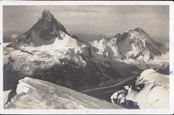 4164 Blick v. d. Wellenkuppe g. Matterhorn 4505 m. und Dent d'He